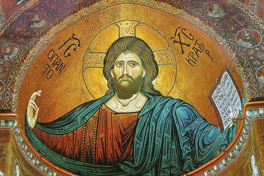 De afbeelding van Jesus in de apsis van de kathedraal
