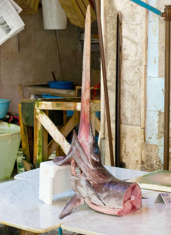 Zwaardvis (pesce spada) op de Vucciria in Palermo