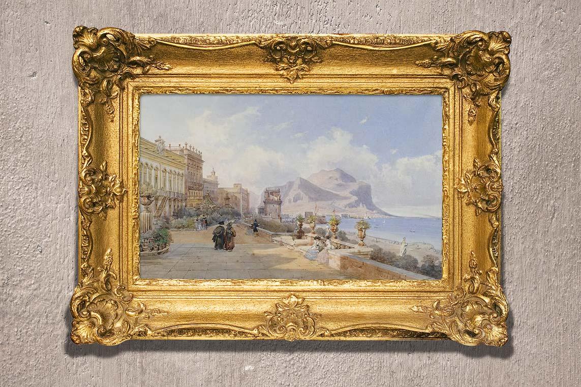 De Passeggiata delle Mura delle Cattive op een schilderij van Teodoro Duclère
