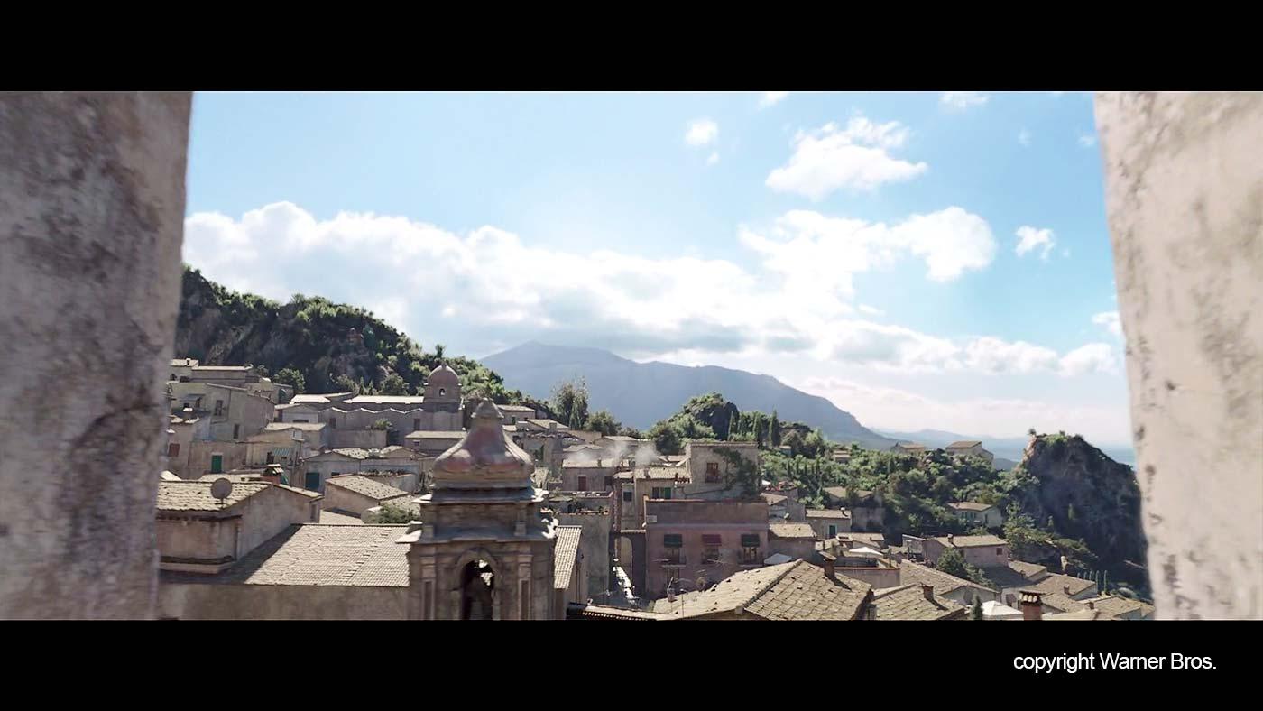 De daken in het fictieve plaatsje in de film.