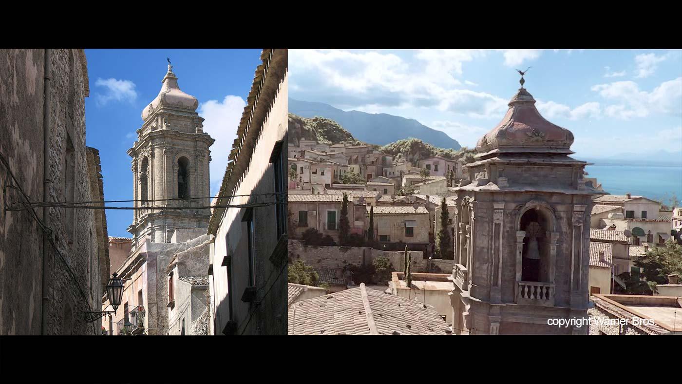 De San Giuliano kerk in Erice en de kerk in de film