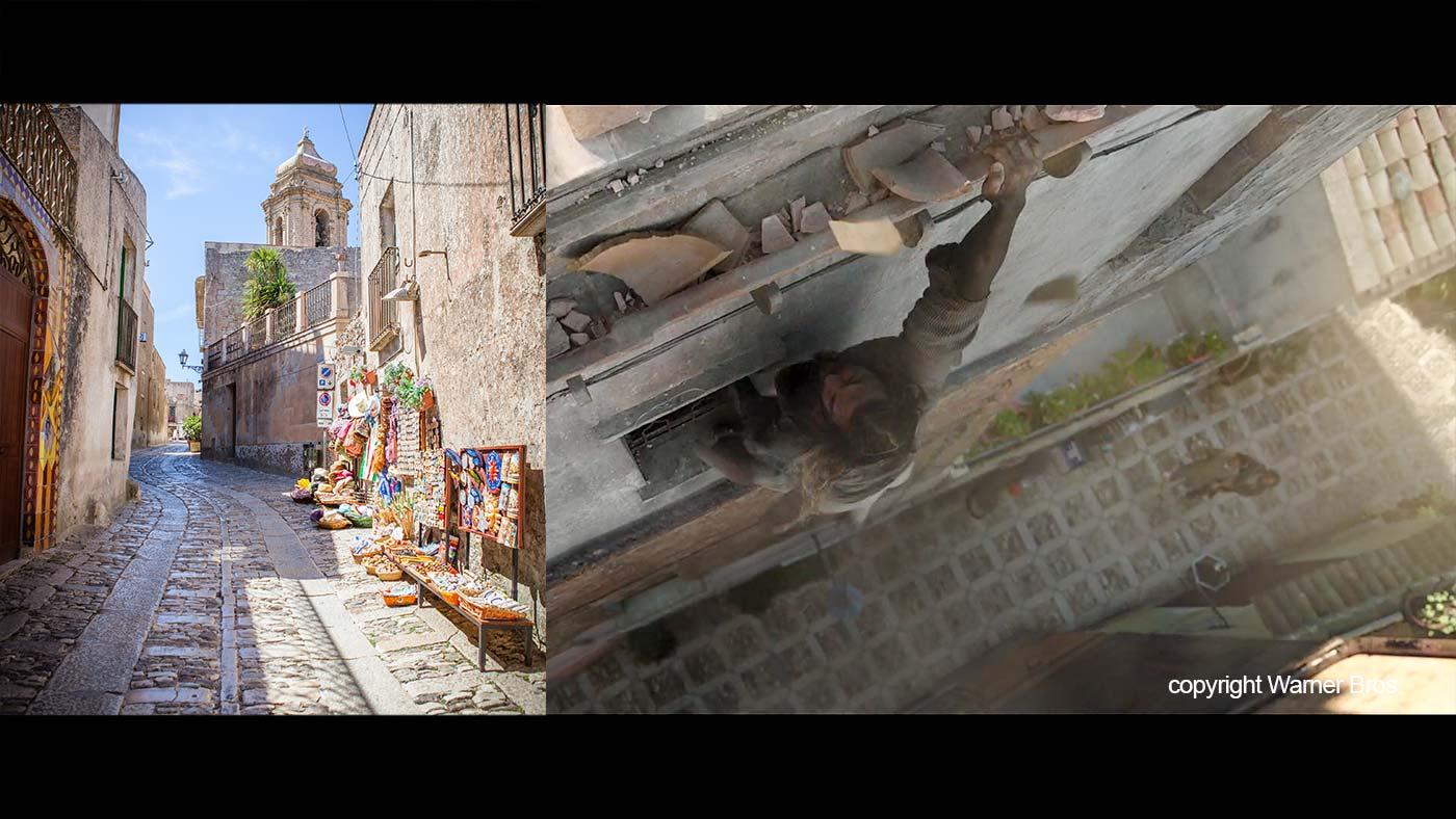Een van de straten van Erice vergeleken met de scene in de film.
