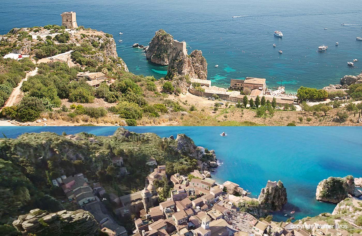 Een vergelijking van het plaatsje uit de film en de kust bij de tonnara in de buurt van Scopello
