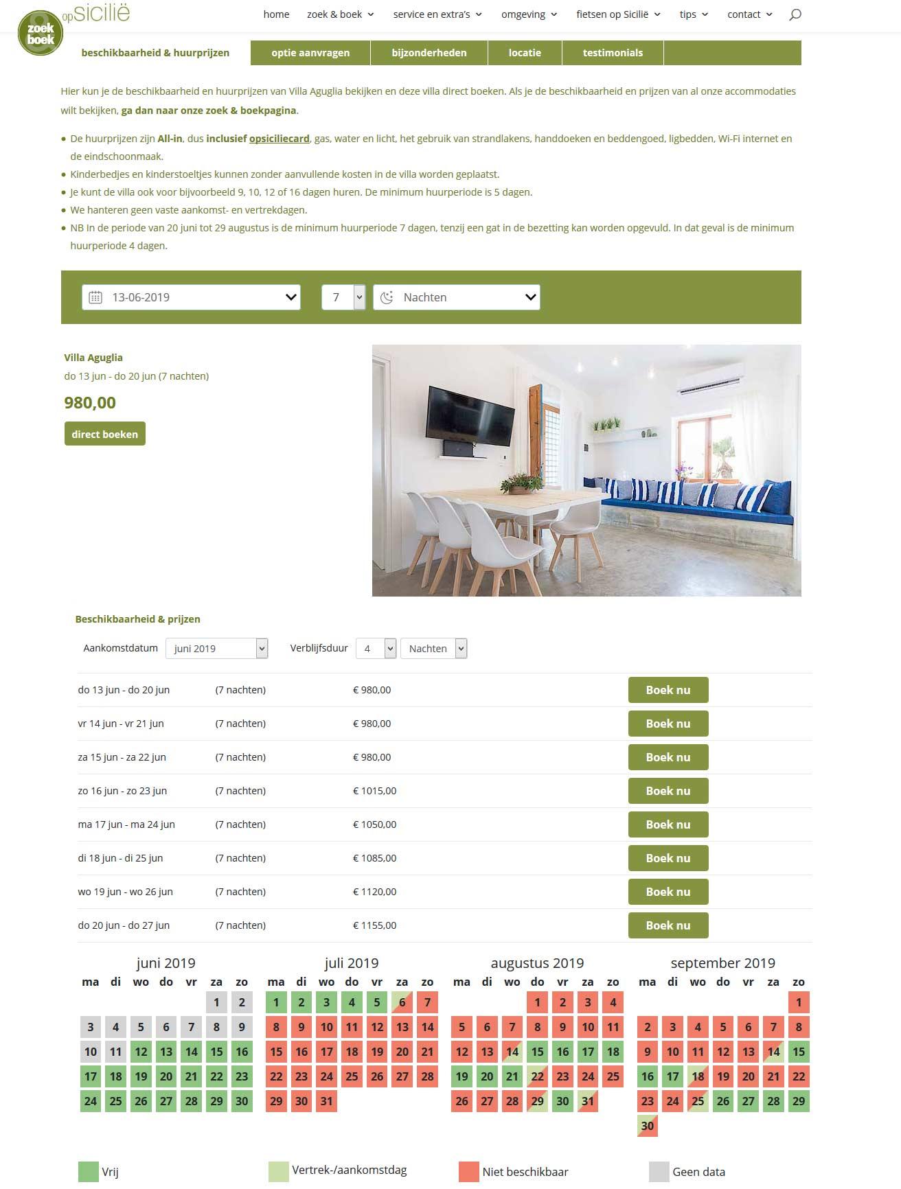Boeken via de informatiepagina van de accommodatie