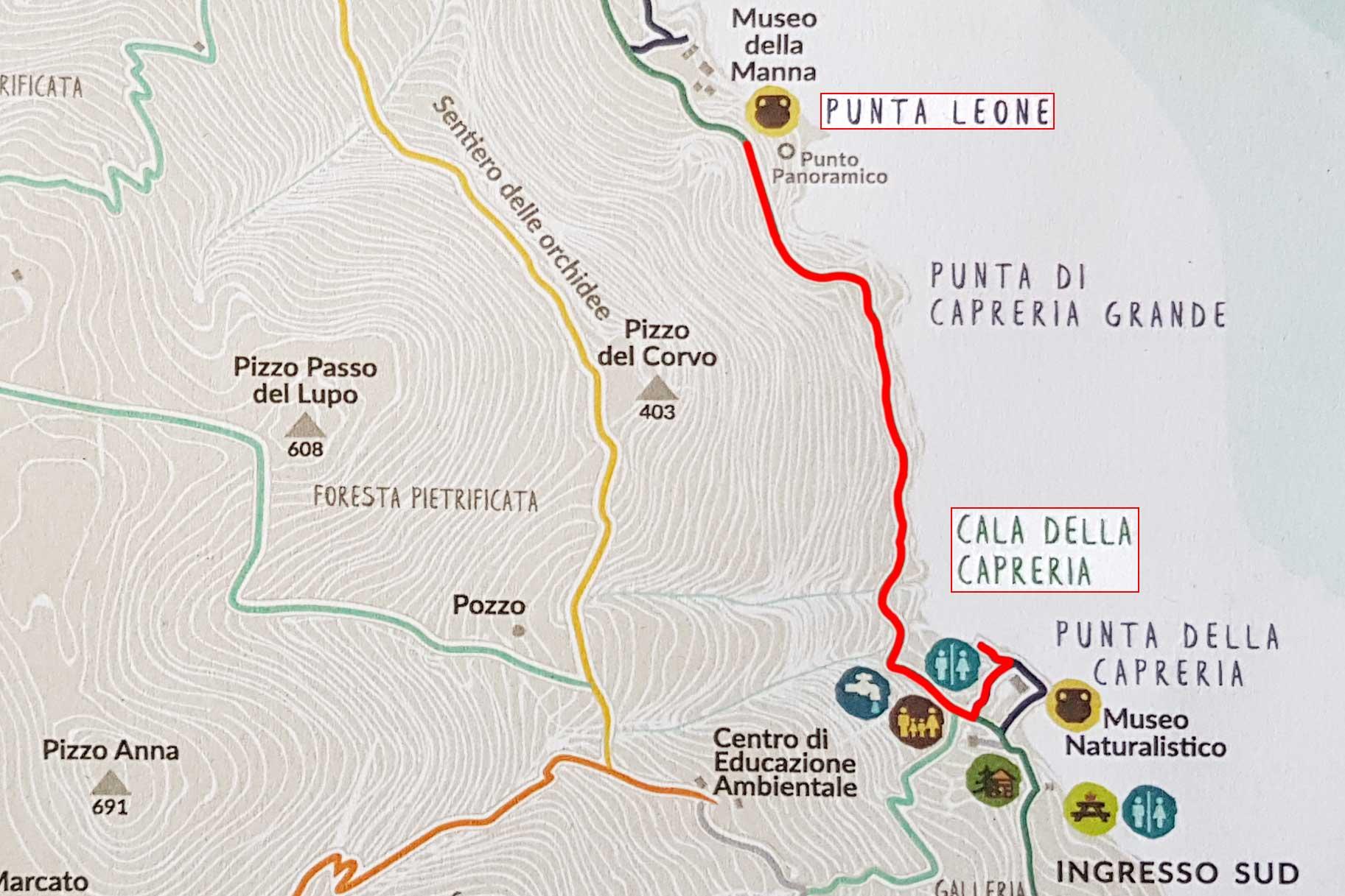 Van de Cala della Capreria naar Punta Leone