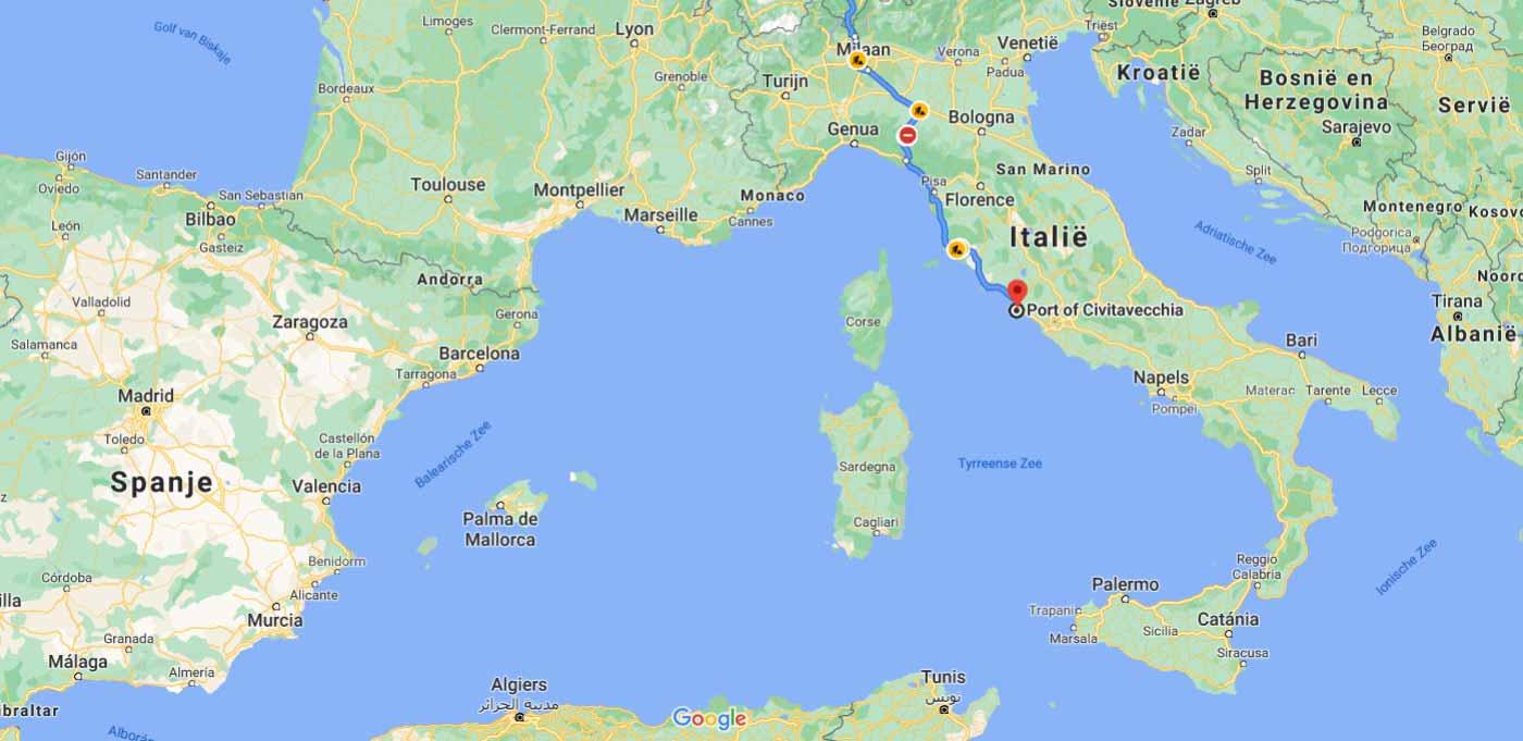 De route naar Italië