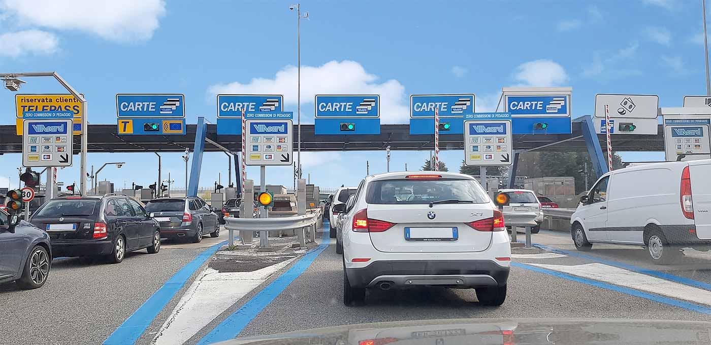 Tolpoorten op de autostrada in Italië